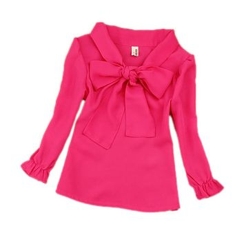 kid clothes chiffon girls blouse children clothing big bow tie school girl white blouse children shirt tops 5 color