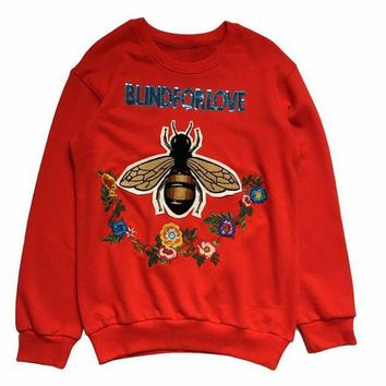 "Gotopfashion ""blindforlove"" Bead piece bee flower embroidery red long sleeve sweater top"