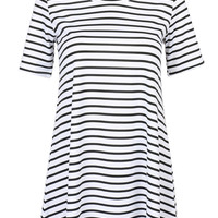 Monochrome Stripe Short Sleeve Swing T-shirt