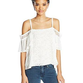 Moon River Womens Cold Shoulder Lace Top