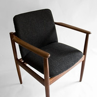Upholstered chair, Furniture, Mid Century Modern, Vintage, upholstered armchair, upholstery, antiques, retro chair,