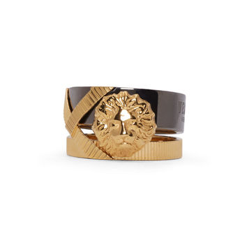 Versus Gold And Gunmetal Double Band Anthony Vaccarello Edition Ring