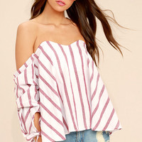 Someone Special Red and White Striped Off-the-Shoulder Top