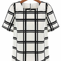 Black and White Plaid Chiffon Short Sleeve Top