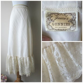 70s Gunne Sax / Gunnies by Jessica Long Lace-Trimmed Prairie Skirt -- Romantic Boho, Dolly Kei, Mori Kei, Forest Girl Fashion!