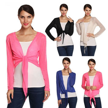 Meaneor Stylish Ladies Long Sleeve Knit Cropped Shrug Bolero Cardigan Top = 1958344260