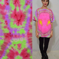 Alien Shirt Tie Dye Neon XL Mens Eyeball Psychedelic Trippy Soft Grunge Seapunk Funky Oversize Tee Hot Pink Hippie UFO Space Colorful