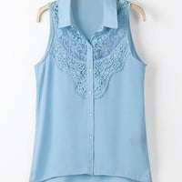 Azure Sleeveless Lace Blouse