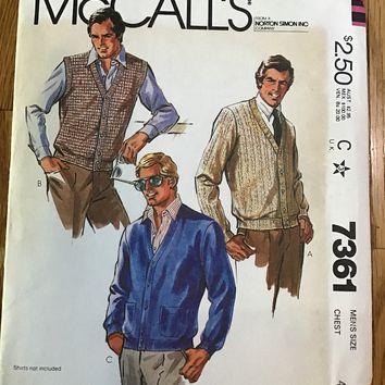 McCalls 7361 Men's sweater or Vest Pattern size 44 chest new