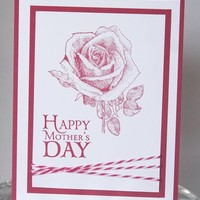 Red Rose Happy Mother's Day Hand Made Card
