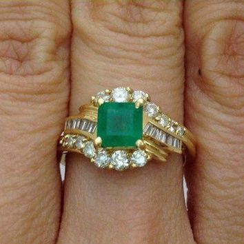 Luxinelle Princess Cut Green Emerald Ring with Round and Baguette Diamonds 14K