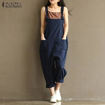 ZANZEA Casual Rompers Womens Jumpsuits Sleeveless Backless Casual Loose Solid Overalls Retro Strapless Playsuits Oversized