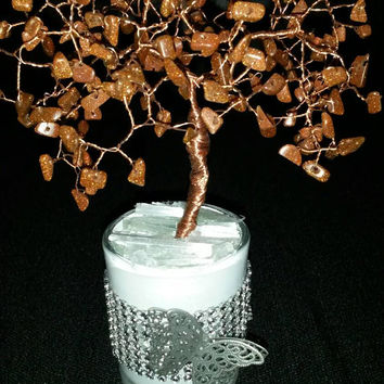 Goldstone butterfly tree of life handmade  copper wirewrapped