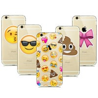 Cute Funny emoji Case For Coque iPhone 5 5s 6 6s 6/s plus Clear Silicone Cellphone Cases Cover Facial Emotion Collection Capinha