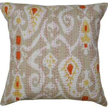 Ikat Kantha Pillow - Reversible Indian Cotton Yoga Cushion Cover Kantha Floral Embroidered Handmade Decorative Throw 16""