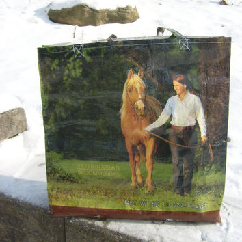 Recycled Feed Sack Horse Walking Horse Food Reusable Market Bag Tote Purse
