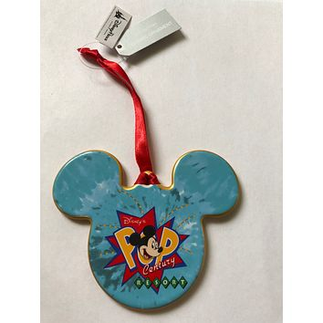 Disney Parks Pop Century Resort Mickey Face Disc Ceramic Ornament New with Tag
