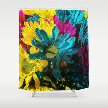 Psychedelic Spring Daisies Shower Curtain by Blooming Vine Design