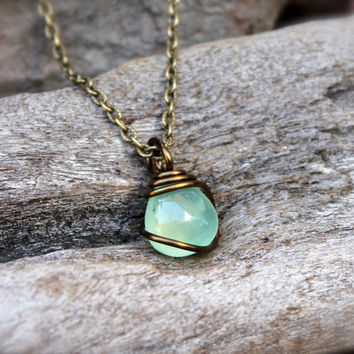 Petite prehnite necklace green stone from mermaid tears gypsy petite prehnite necklace green stone jewelry natural stone necklace natural preh aloadofball Choice Image