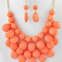 Coral Beaded Necklace and Earring Set