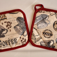 Coffee pot holder set - tan and black coffee print hot pads with maroon border, beautiful heat resistant oven mits, cafe, great quality
