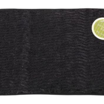 "Black Faux Fur Textured Bathroom Bath Mat 20"" X 31.5"