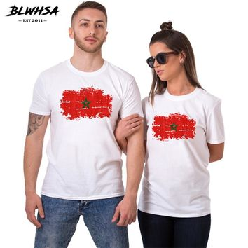 BLWHSA Lovers Couples t shirt Printed Morocco Flag Women Tee shirts Harajuku Hipster hip hop Couple Man T-Shirts  Boyfriend Gift