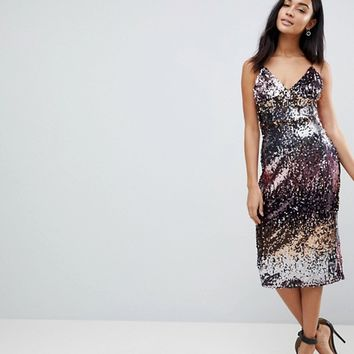 Club L Ombre Sequin Midi Dress at asos.com