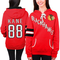 Patrick Kane Chicago Blackhawks Old Time Hockey Women's Heidi Hoodie - Red