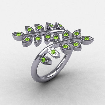 14K White Gold Peridot Leaf and Vine Wedding Ring, Engagement Ring NN112-14KWGP