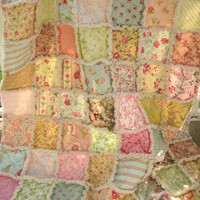 Rag Quilt - Large Lap Size, Throw, Blanket - Scrappy Patchwork, Shabby Chic Dreamy Pastels - Designers Medley