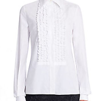 Dolce & Gabbana - Cotton Ruffle Blouse - Saks Fifth Avenue Mobile