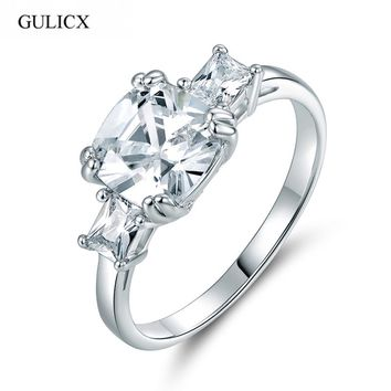GULICX Brand 2017 Fashion Big Princess Cut Crystal RIng for Women  White Color Band Cubic Zirconia Wedding Jewelry R162