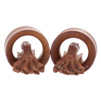 "1 1/16"" (27mm) Carved Octopus Wood Plugs #6530452"