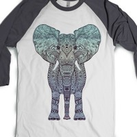 Tribal Mint Elephant-Unisex White/Asphalt T-Shirt