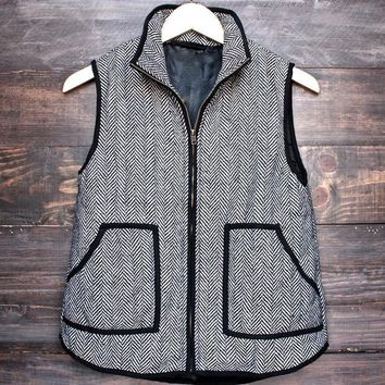DCCK7XP herringbone quilted puffer vest - Grey