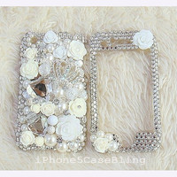 iPhone 4 Case, iPhone 4s Case, iPhone 5 Case, iPhone 4 front and back case, iphone 5 front and back case, Bling iphone 4 case crown flowers