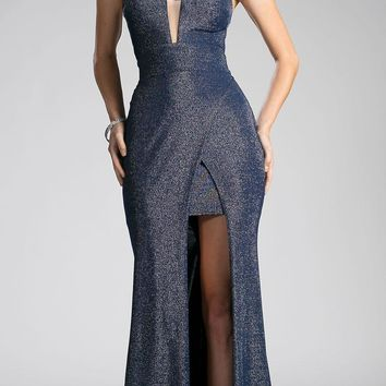 Navy-Silver Cut Out Bodice and Back Long Prom Dress
