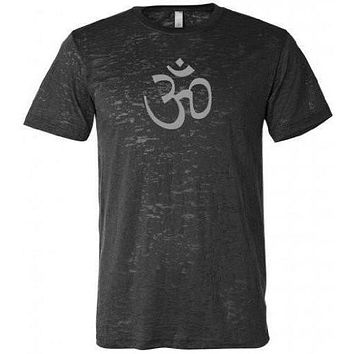 AUM Om Symbol Mens Burnout Tee Shirt