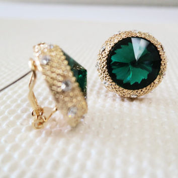 Emerald Earrings, Gold Emerald Stud Earrings, Emerald Post Earrings with Rhinestone in Gold