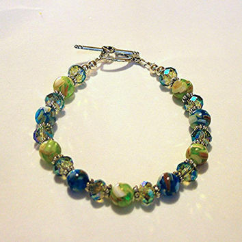 Bracelet, Mother Of Pearl and Crystal Rondelle Beads, Green, Blue, Handmade