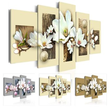 HD No Frame 5PCS/Set Art Texture and Magnolia Flowers Art Print Frameless Canvas Painting Wall Picture Home Poster Decoration Pi