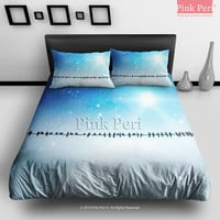 Birds on the Electric Wire Bedding Sets Home Gift Home & Living Wedding Gifts Wedding Idea Twin Full Queen King Quilt Cover Duvet Cover Flat Sheet Pillowcase Pillow Cover 062