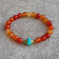stability - Carnelian and capped turquoise genuine gemstone yoga mala bracelet