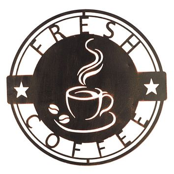 Fresh Coffee Piping Hot Cutout Metal Wall Plaque -- 15-3/8-in