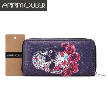 Pu Leather Long Size Purse Skull Print Clutch Bag