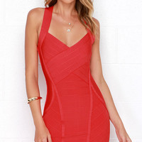 My Heart Go Giddy-Up Red Bodycon Dress