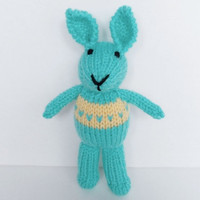 Hand Knit Easter Bunny, Stuffed Animal Plush Toy, Ready To Ship, New Infant Baby Easter Gift, Little Aqua Blue Rabbit, Child Nursery Toy 8""