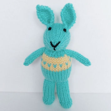 """Hand Knit Easter Bunny, Stuffed Animal Plush Toy, Ready To Ship, New Infant Baby Easter Gift, Little Aqua Blue Rabbit, Child Nursery Toy 8"""""""