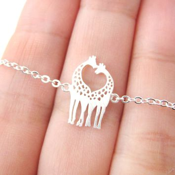 Kissing Giraffe Animal Shaped Silhouette Pendant Necklace in Silver | DOTOLY